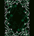 abstract green background with floral frame vector image vector image