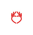 Abstract red heart logo from the hands the mockup vector image vector image