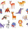 animals seamless pattern lion and zebra macaque vector image vector image