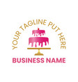 beautiful pink and gold baked cake logo template