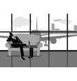 businessman waiting his flight at the airport vector image
