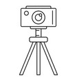 camera on tripod icon outline style vector image