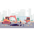 cartoon people fixing hole on highway - industrial vector image