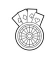 casino roulette with poker cards vector image