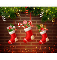 christmas socks wall composition vector image vector image