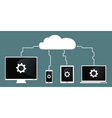 cloud computing devices connect to cloud vector image vector image