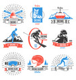 colored skiing vintage labels set vector image vector image