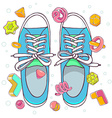 colorful of blue gumshoes on white backgrou vector image vector image