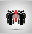 company people silhouette with red leader vector image