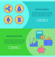 cryptocurrency flyer templates with place for text vector image