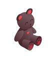 cute isometric teddy bear drawn with vivid brown vector image vector image