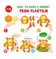 cute plasticine monkey step instruction for kid vector image vector image