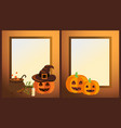 empty halloween photo frames with ripe pumpkins vector image vector image