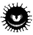 evil eye monster stencil vector image vector image
