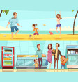 family horizontal cartoon banners vector image