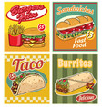 fast food design in retro style set vector image vector image
