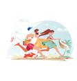 flat young man with beard surfboard and girl vector image