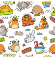 funny cartoon cat drawings - seamless pattern vector image