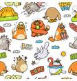 funny cartoon cat drawings - seamless pattern vector image