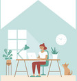 girl freelancer work remotely from home vector image