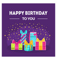 happy birthday to you banner template with gift vector image