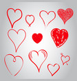 hearts icon set love hand drawn on gray background vector image vector image