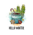 hello winter hand drawn doodle poster hot tea vector image