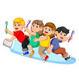 kid riding big tooth pasta and holding tooth brush vector image