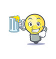 light bulb character cartoon with juice vector image vector image