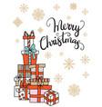 merry christmas congratulation card gift boxes vector image