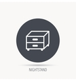 Nightstand icon Bedroom furniture sign