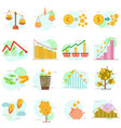 outline icons set of flat elements finance objects vector image