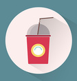 Paper cup with lid and tube colorful round icon vector image