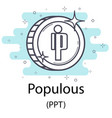 populous outline coin vector image vector image