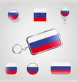 russia country flag on keychain and map pin vector image vector image