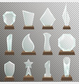 set glass transparent trophy awards vector image