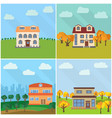 set of four lonely houses in the nature vector image vector image