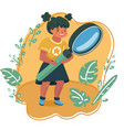 smiling girl looking through a magnifying glass vector image vector image