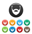 stylish beard icons set color vector image vector image
