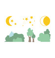 summer trees moon and stars natural landscape vector image
