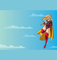 super mom with baby in sky vector image vector image