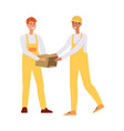 two loaders in overalls passing a brown box vector image vector image