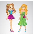 Two Young Beautiful Girlfriends vector image vector image