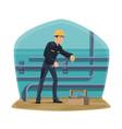 water pipeline plumbing service plumber worker vector image vector image