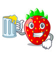 with juice fresh ripe strawberry isolated on vector image