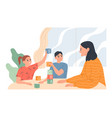young woman with children at table playing vector image