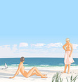 Young women on a sand beach by the sea vector image