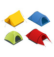 isometric icon set of tourist tents flat 3d vector image