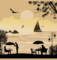 people silhouette on the beach and ship at the sea vector image