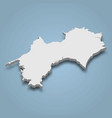 3d isometric map shikoku is an island in japan vector image vector image